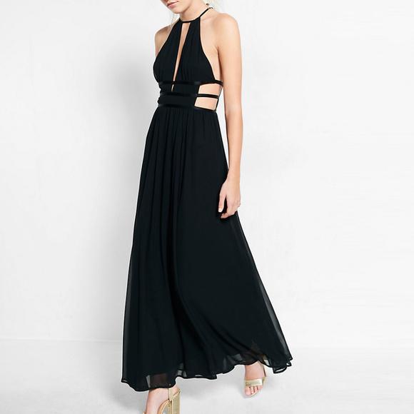 50187a8cdb1 Express Dresses & Skirts - Express Plunge Cut-Out Black Maxi Dress